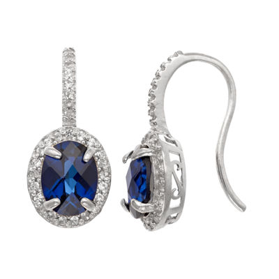 Lab Created Blue Sapphire Sterling Silver Oval Drop Earrings