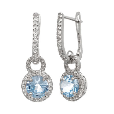 Lab Created Blue Aquamarine Sterling Silver Round Drop Earrings