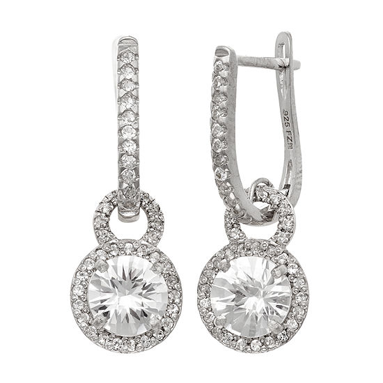 Lab Created White Sapphire Sterling Silver Round Drop Earrings