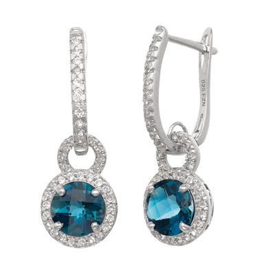 Genuine Blue Topaz Sterling Silver Round Drop Earrings