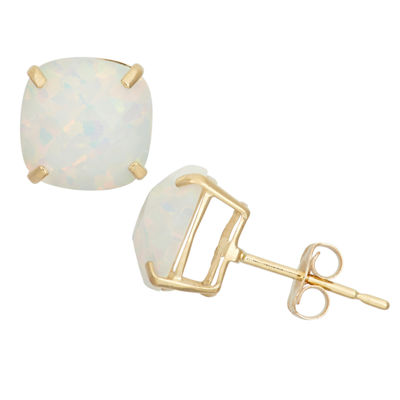 Lab Created White Opal 10K Gold 8mm Stud Earrings