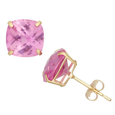 Cushion Pink Sapphire 10K Gold Stud Earrings