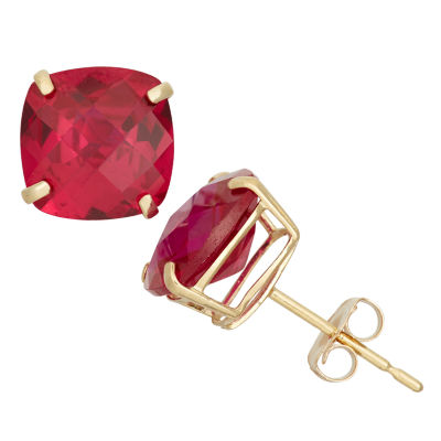 Cushion Red Ruby 10K Gold Stud Earrings