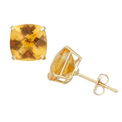 Cushion Yellow Citrine 10K Gold Stud Earrings