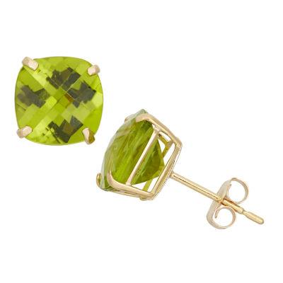 Cushion Green Peridot 10K Gold Stud Earrings