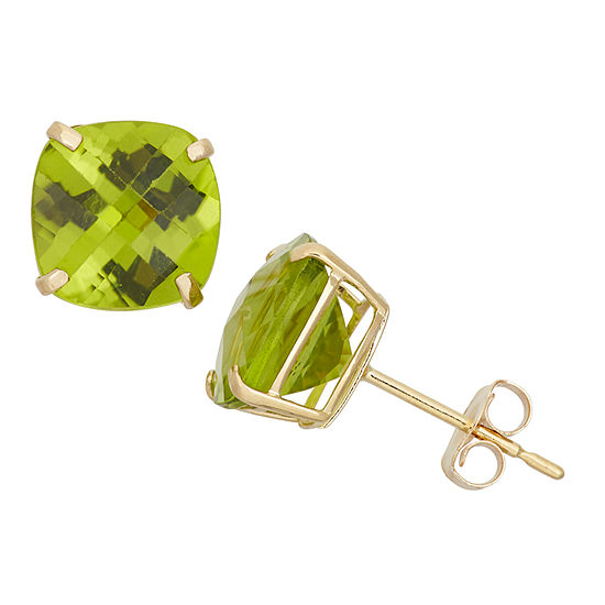 Genuine Green Peridot 10K Gold 8mm Stud Earrings
