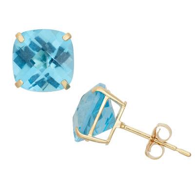 Cushion Blue Blue Topaz 10K Gold Stud Earrings