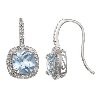 Lab Created Blue Aquamarine Sterling Silver Drop Earrings
