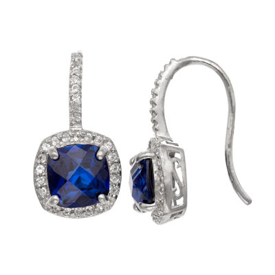 Lab Created Blue Sapphire Sterling Silver Drop Earrings