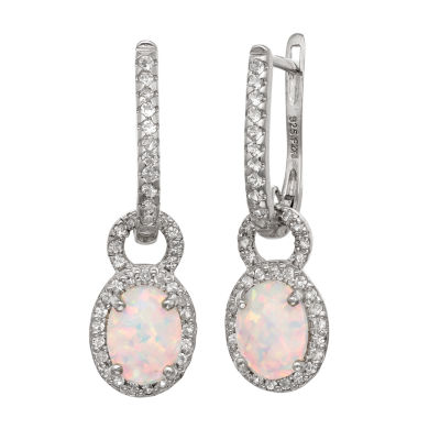 Lab Created White Opal Sterling Silver Oval Drop Earrings