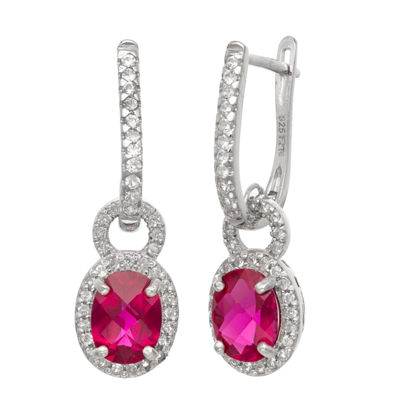 Lab Created Red Ruby Sterling Silver Oval Drop Earrings
