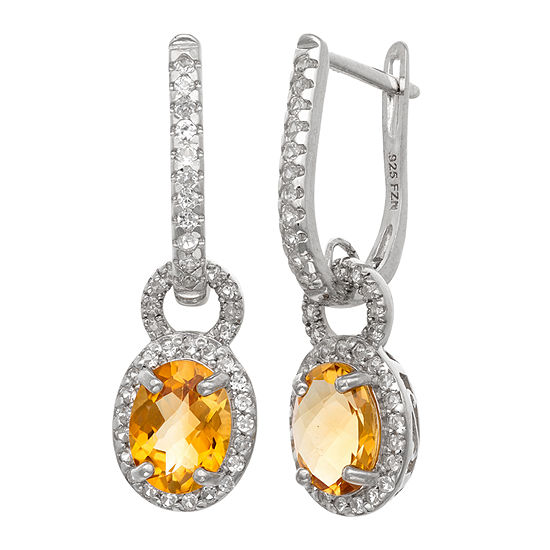 Genuine Yellow Citrine Sterling Silver Oval Drop Earrings