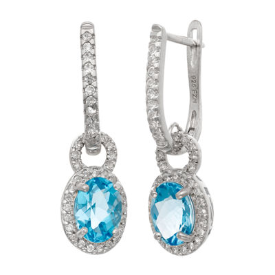 Genuine Blue Blue Topaz Sterling Silver Oval Drop Earrings