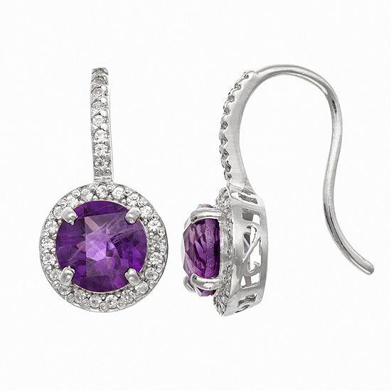 Genuine Purple Amethyst Sterling Silver Round Drop Earrings