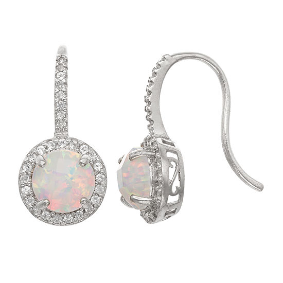 Lab Created White Opal Round Drop Earrings