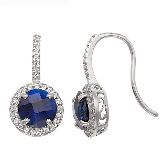 Lab Created Blue Sapphire Sterling Silver Round Drop Earrings