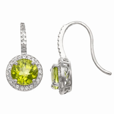 Genuine Green Peridot Sterling Silver Round Drop Earrings