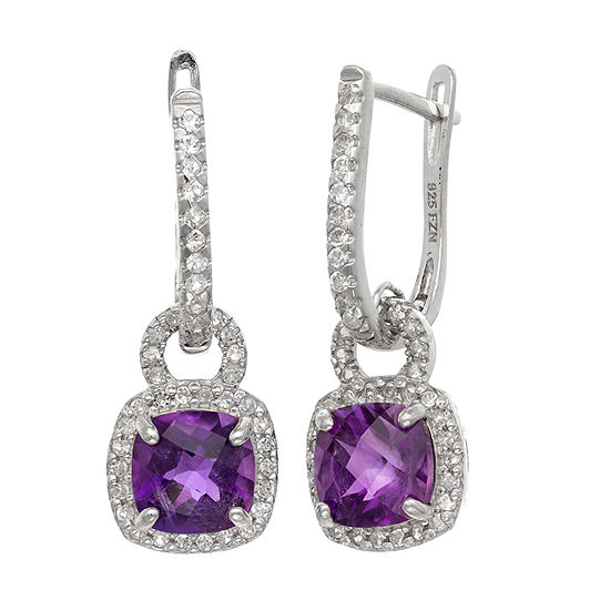Genuine Purple Amethyst Sterling Silver Drop Earrings