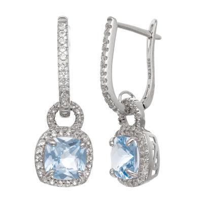 Lab Created Blue Aquamarine Sterling Silver Drop Earrings