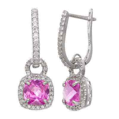 Lab Created Pink Sapphire Sterling Silver Drop Earrings
