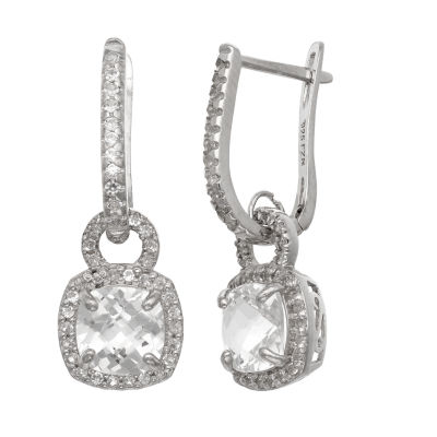 Lab Created White Sapphire Sterling Silver Drop Earrings