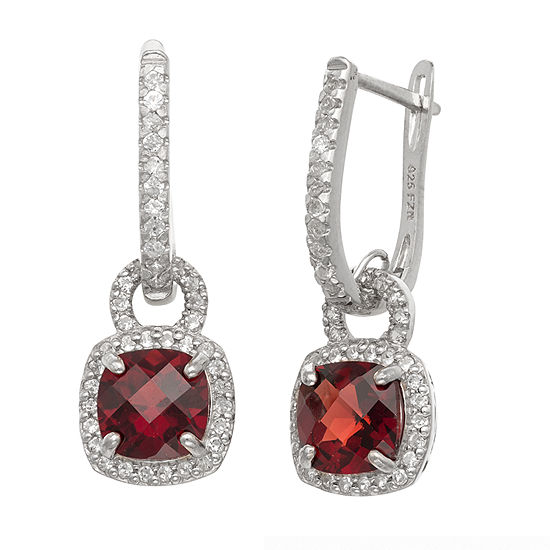 Genuine Red Garnet Sterling Silver Drop Earrings