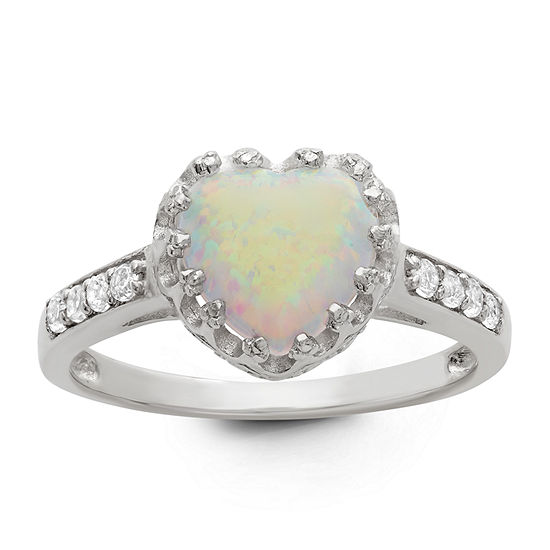 Womens Lab Created White Opal Sterling Silver Heart Cocktail Ring