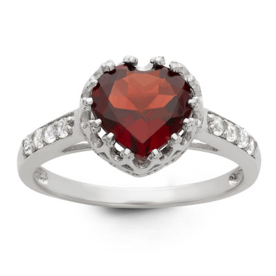 Womens Genuine Red Garnet Sterling Silver Heart Cocktail Ring
