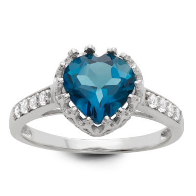 Womens Genuine Blue Topaz Sterling Silver Heart Cocktail Ring