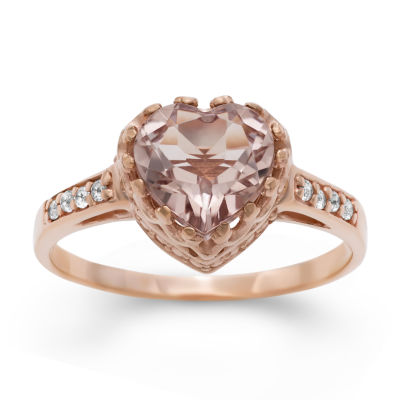 Womens Simulated Pink Morganite 14K Gold Over Silver Heart Cocktail Ring