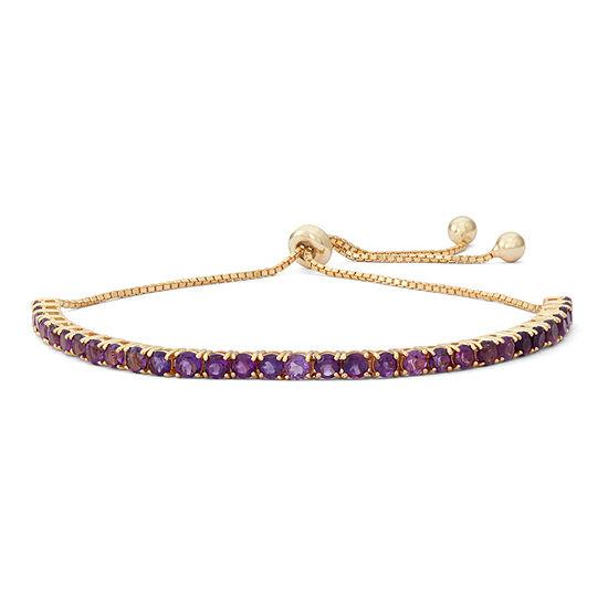Genuine Purple Amethyst 14K Gold Over Silver Round Bolo Bracelet