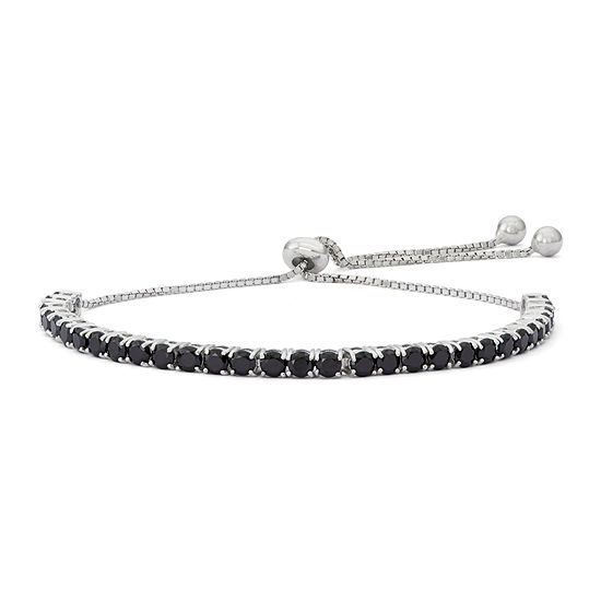 Lab Created Black Spinel Sterling Silver Bolo Bracelet