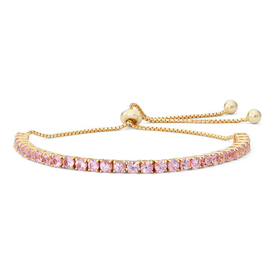 Lab Created Pink Sapphire 14k Gold Over Silver Bolo Bracelet
