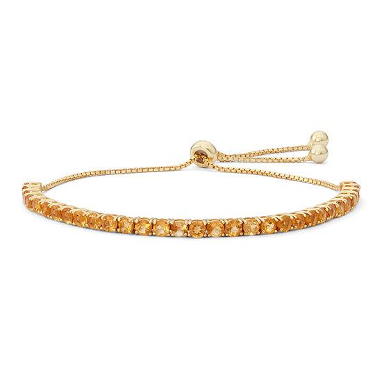 Genuine Yellow Citrine 14K Gold Over Silver Bolo Bracelet