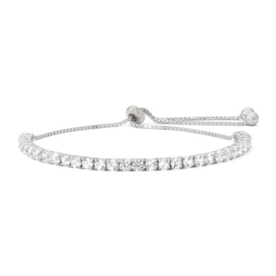 Lab Created White Sapphire Sterling Silver Bolo Bracelet