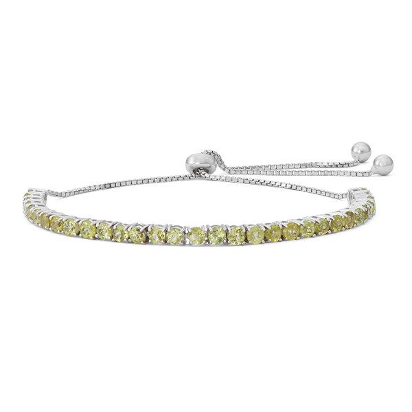 Fine Jewelry Womens Greater Than 6 CT. T.W. Green Peridot Sterling Silver Bolo Bracelet otMZHhTQO