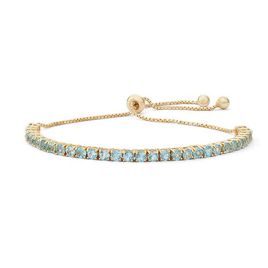 Genuine Blue Topaz 14K Gold Over Silver Bolo Bracelet