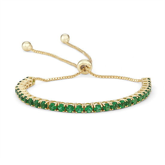 Simulated Green Emerald 14K Gold Over Silver Bolo Bracelet