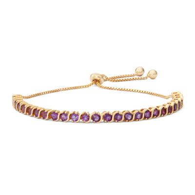 Genuine Purple Amethyst 14K Gold Over Silver Bolo Bracelet