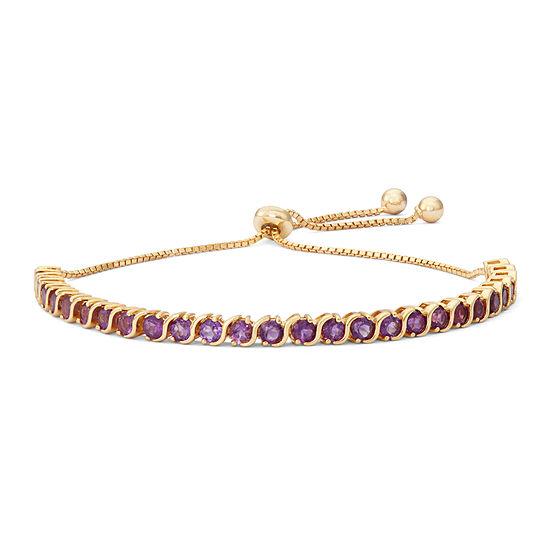 Genuine Purple Amethyst 14K Gold Over Silver Bolo Bracelet
