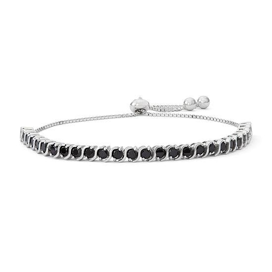Lab Created Black Spinel Sterling Silver Bolo Bracelet