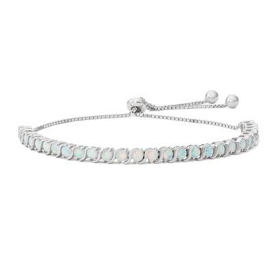 Fine Jewelry Womens Greater Than 6 CT. T.W. White Opal Sterling Silver Bolo Bracelet 6biQM6ax
