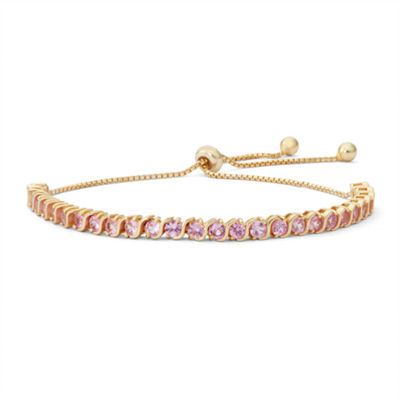 Womens Greater Than 6 CT. T.W. Pink Sapphire 14K Gold Over Silver Bolo Bracelet
