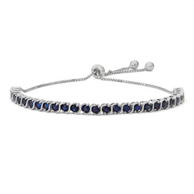 Lab Created Blue Sapphire Sterling Silver Bolo Bracelet