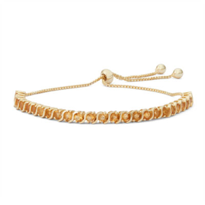 Womens Greater Than 6 CT. T.W. Yellow Citrine 14K Gold Over Silver Bolo Bracelet