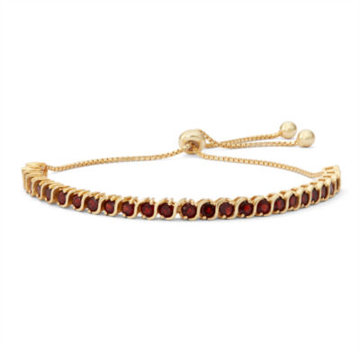 Womens Greater Than 6 CT. T.W. Red Garnet 14K Gold Over Silver Bolo Bracelet
