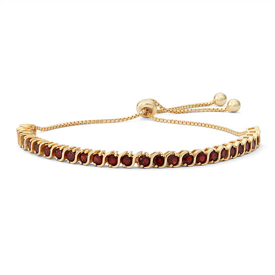 Genuine Red Garnet 14k Gold Over Silver Bolo Bracelet