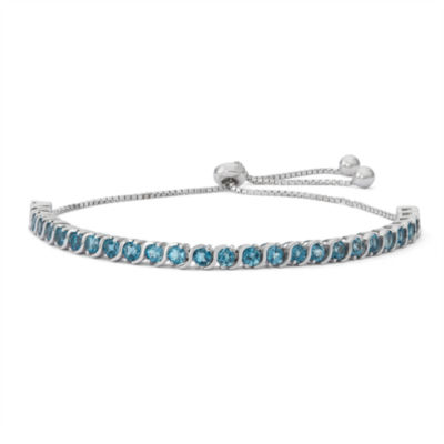 Womens Greater Than 6 CT. T.W. Blue Blue Topaz Sterling Silver Bolo Bracelet