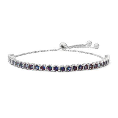 Genuine Mystic Fire Topaz Sterling Silver Bolo Bracelet