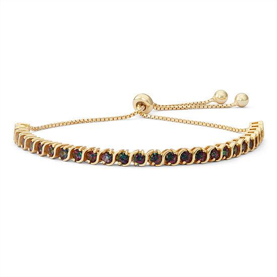 Genuine Mystic Fire Topaz 14K Gold Over Silver Bolo Bracelet